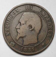 RARE 10 CENTIMES NAPOLEON III TETE NUE 1857K BORDEAUX