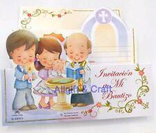 Invitaciones de A Mi Bautizo Spanish Baptism Christening invitations Favors 10pc