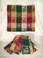 Vintage 6 Fall Cloth Napkins Fabric, Harvest, Cornucopia, Pumpkins, Thanksgiving