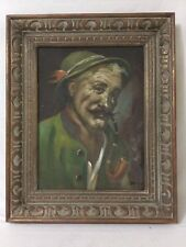 Vintage German Man smoking pipe oil Painting Signed Framed