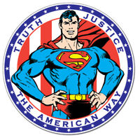 Superman Truth Justice The American Way Round Metal Tin Sign 12 x 12in