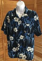 Youth Boys Pineapple Connection Blue Floral Hawaiian Shirt Size XL