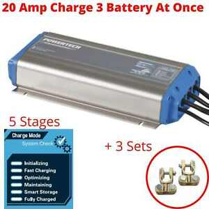 Powertech 12/24/36V 20A Triple Output Battery Charger 5 Stages Caravan Boat 4WD