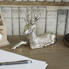 Silver metal sitting stag reindeer deer ornament resting display animal gift