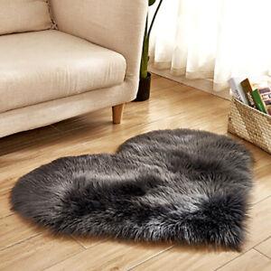 Soft Faux Fur Fluffy Mat Heart Shaped Super Shaggy Plush Carpet For Room Bedroom