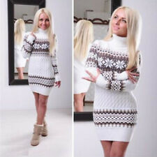 Womens Xmas Long Sleeve Sweater Dresses Skirt Winter Long Tops Pullover Jumpers