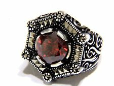 Turkish Ottoman Red Agate Gemstone  Marcasite Solid 925 Sterling Silver