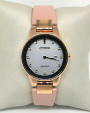 CITIZEN ECO-DRIVE AXIOM DIAMOND PINK LEATHER DATE WATCH GA1058-08A $325.00