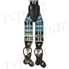 66502 Yellow /& Black Plaid Suspenders Silver Clasps Sourpuss Punk Braces Oi Thin