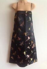 LINEA Black Satin embroidered Butterfly Strappy Summer dress Size 16