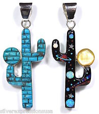 Reversible Turquoise & Mutistones Inlay 925 Sterling Silver Cactus Pendant