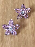 #808  Sterling Silver 925 Pink Crystal Flower Earrings