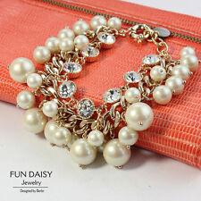 Costume Fashion Bracelet Charms Gold Pearl Cristal Retro Bridal Marrige CT4