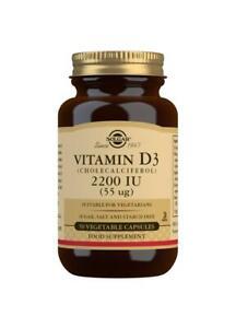 Solgar Vitamine D3 (Cholécalciférol) 2200IU 55ug,50 Végétarien Capsules, OS