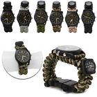 Outdoor Camo Paracord Survival Watch Bracelet Compass Flint Fire Starter Whistle