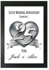 Silver Wedding Anniversary 25 Years Personalised Print Novelty Gift
