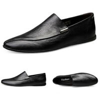 Mens Casual Driving Boat Shoes Leather Slip On Leisure Loafers Dress Formal Size