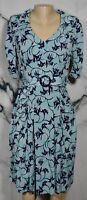 CHADWICK'S COLLECTION Blue Black Ivory Print Dress 10P Petite Short Sleeve Belt
