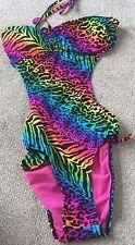 BNWOT Ocean Club Rainbow leopard print Swimming Costume - Size 10