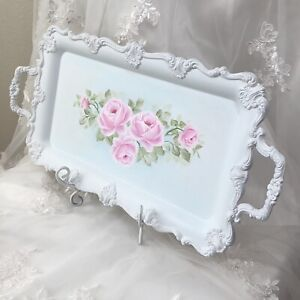 Ornate Hand Painted Tray White Cottage Chic Pink Roses Vintage Home Decor HP