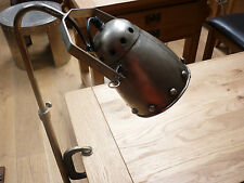 VINTAGE LOOKING AGED CLAMP  DESK LAMP 240 VOLT PLUG FITTED STUDDED STYLE