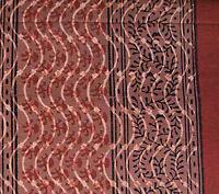 Burgundy & Black Hand Block Print, Cotton Fabric. 2½ Yards