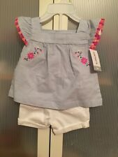 carters baby girl 3 months - Light Blue Sleeveless Floral Shirt with White Short