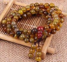 108 Tibetan Buddhist 6mm Dragon agate Beads Buddha Prayer Mala Necklace