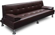 Sofa divano letto clic clac reclinabile in ecopelle alta qualità 3 posti marrone