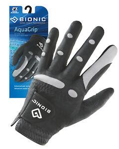 Bionic Golf Glove - AquaGrip - Mens Left Hand - Black - Wet Weather - Med/Large