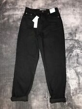 TOPSHOP MOM High Waisted/ Tapered Leg JEANS Size UK 8 W26  L30 ~ Black~ New