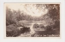 A View At Iowa State College in Ames RPPC shows a pair of Swans on the pond pc