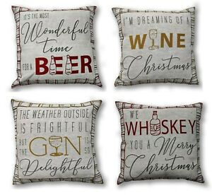 Fun Christmas Cushion Covers, Gin And Whiskey Or Beer And Wine, Reversible 17x17
