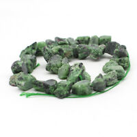 "15"" Natural Epidote Stone Freeform Beads 8-14mm Side Drilled Jewelry DIY"