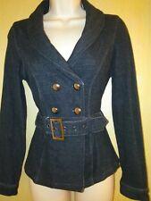 wet seal cotton/spandex belted jean coat jacket w s
