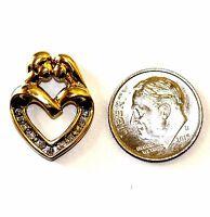 10k yellow gold .10ct SI2 H diamond mother child heart charm pendant 2.6g eatate