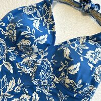 14 Lands End Womens Halter Tie Tankini Top Blue Floral Print Soft Cups No Wire