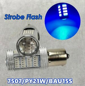 Strobe Flash Rear Turn Signal Light BAU15S 7507 PY21W 92 LED Blue Bulb W1 JAE