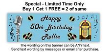 Birthday Party Banner Paper Sign, Rock n Roll, 50's, Jukebox, Old Time - BLUE