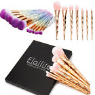 Unicorn Diamond 10Pcs Professional Makeup Brushes Set Oval Cream Puff With Box