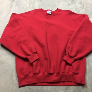 JERZEES 90s VTG HEAVY COTTON Sweatshirt XXL Made in USA Thick Blank Plain Red