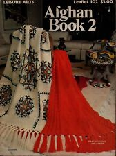 Leisure Arts 102 Afghan Book 2 Crochet Knit Patterns Indian Scrap Granny 1977