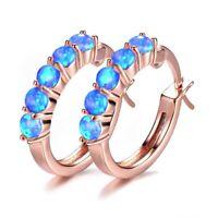 Wedding Rainbow Multi Blue Fire Opal Gems Rose Gold Plated Silver Stud Earrings
