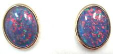 Good Christmas Gift Natual Black Triplet Opal Earring Solid Silver 10x8mm