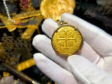 PERU 8 ESCUDOS 1715 FLEET JEWELRY TREASURE NECKLACE PENDANT PIRATE GOLD COINS