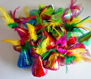 ANCOL 17CM BRIGHT PARTY HAT CAT TOYS WITH FEATHERS CAT KITTEN SOFT SHINEY TOYS