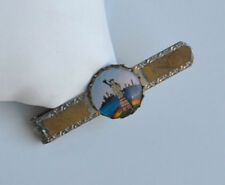 ANTIQUE VICTORIAN Essex Crystal TIE BAR hand painted STATUE OF LIBERTY NEW YORK