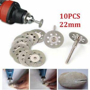 10x Mini Diamond Cutting Discs Wheel Blades + Drill Bit For Dremel Rotary Tool