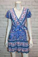 SHAREEN Brand Blue Floral Print Wrap Dress Size 6 BNWT #ST81