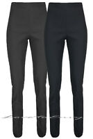 LADIES GIRLS BLACK / GREY HIGH WAISTED TROUSERS  SCHOOL WORK STRETCH PANTS 6-18
